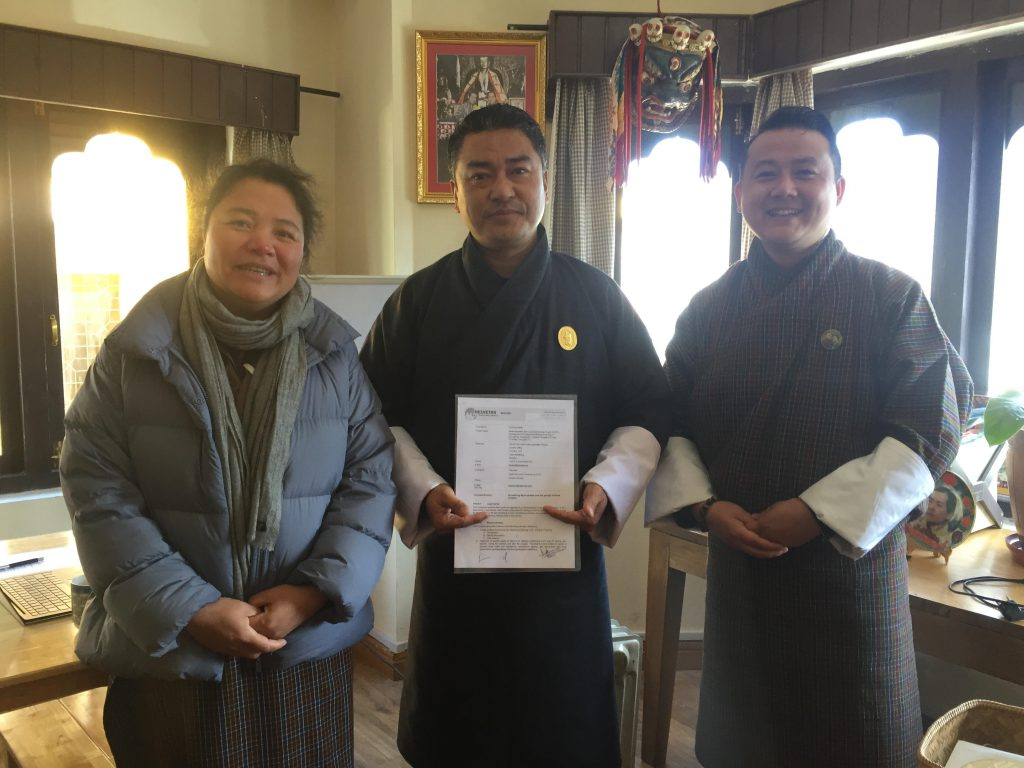 ED, CLG with representative from the Department of Local Governance and the Country Director of Helvetas Bhutan at the inception meeting earlier today.